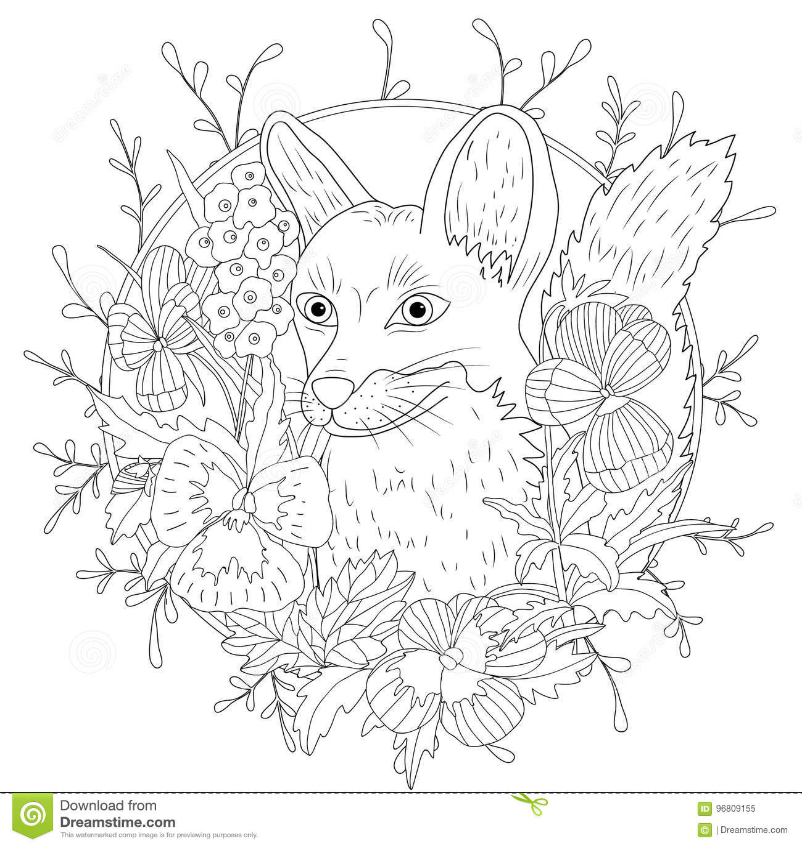 Stylized Cartoon Wild Fox Animal And Violet Flowers Freehand