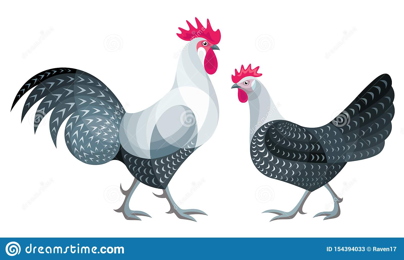 Stylized Chickens - vector illustration