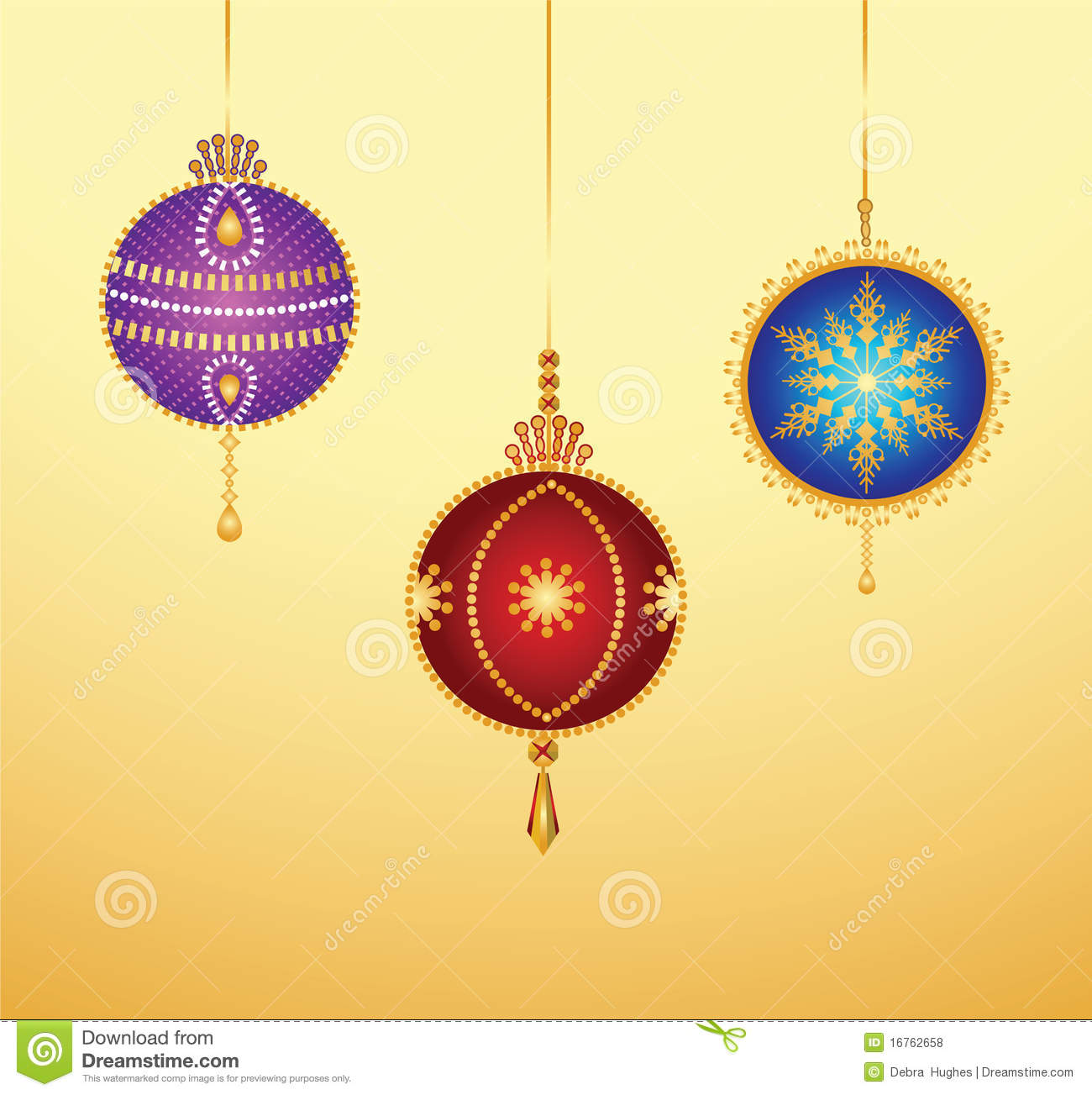 Stylized Christmas Baubles Royalty Free Stock Photos