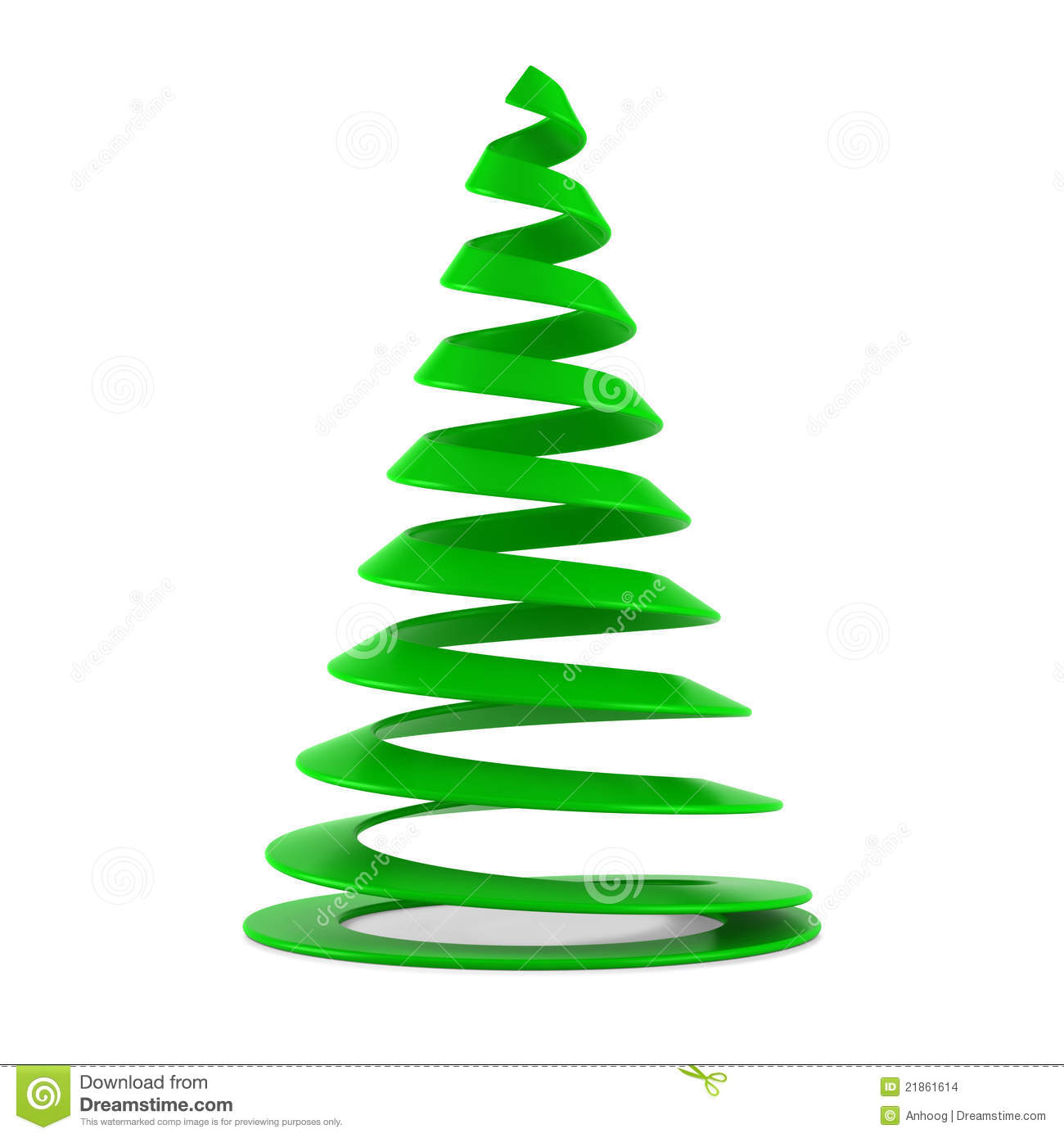 Stylized christmas tree in green plastic stock