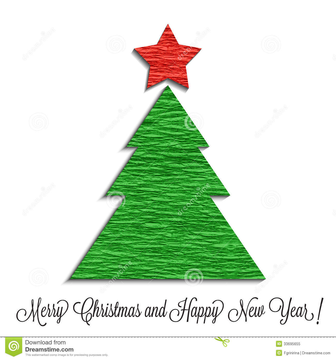 Stylized christmas tree made of crepe paper stock vector
