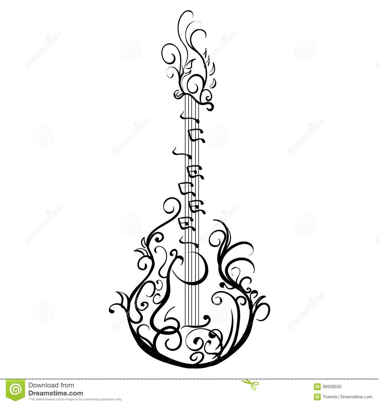 Stylized Classical Guitar  Retro Guitar Tattoo Stock Vector