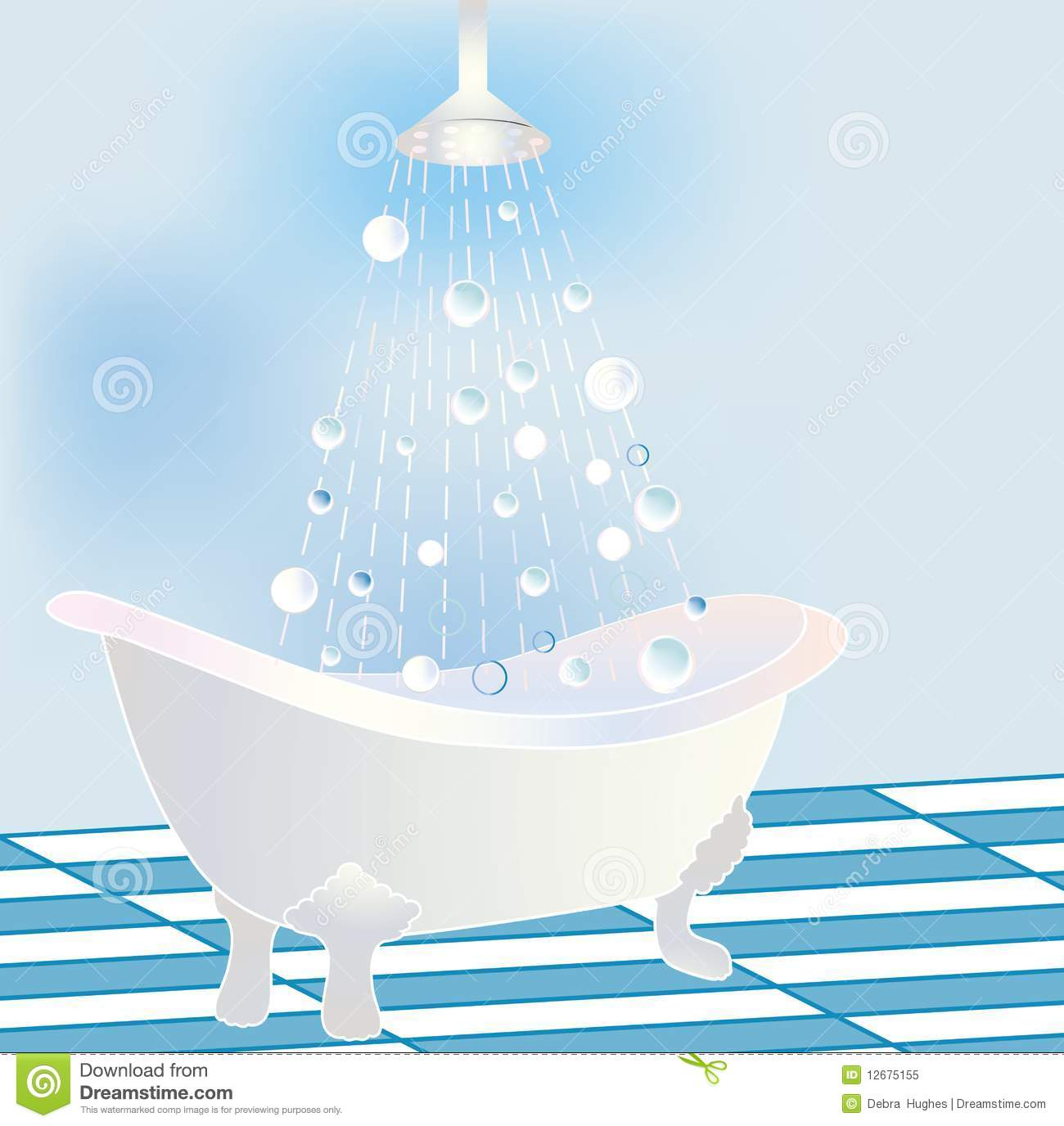 Stylized Claw Tub With Shower Stock Vector Illustration Of