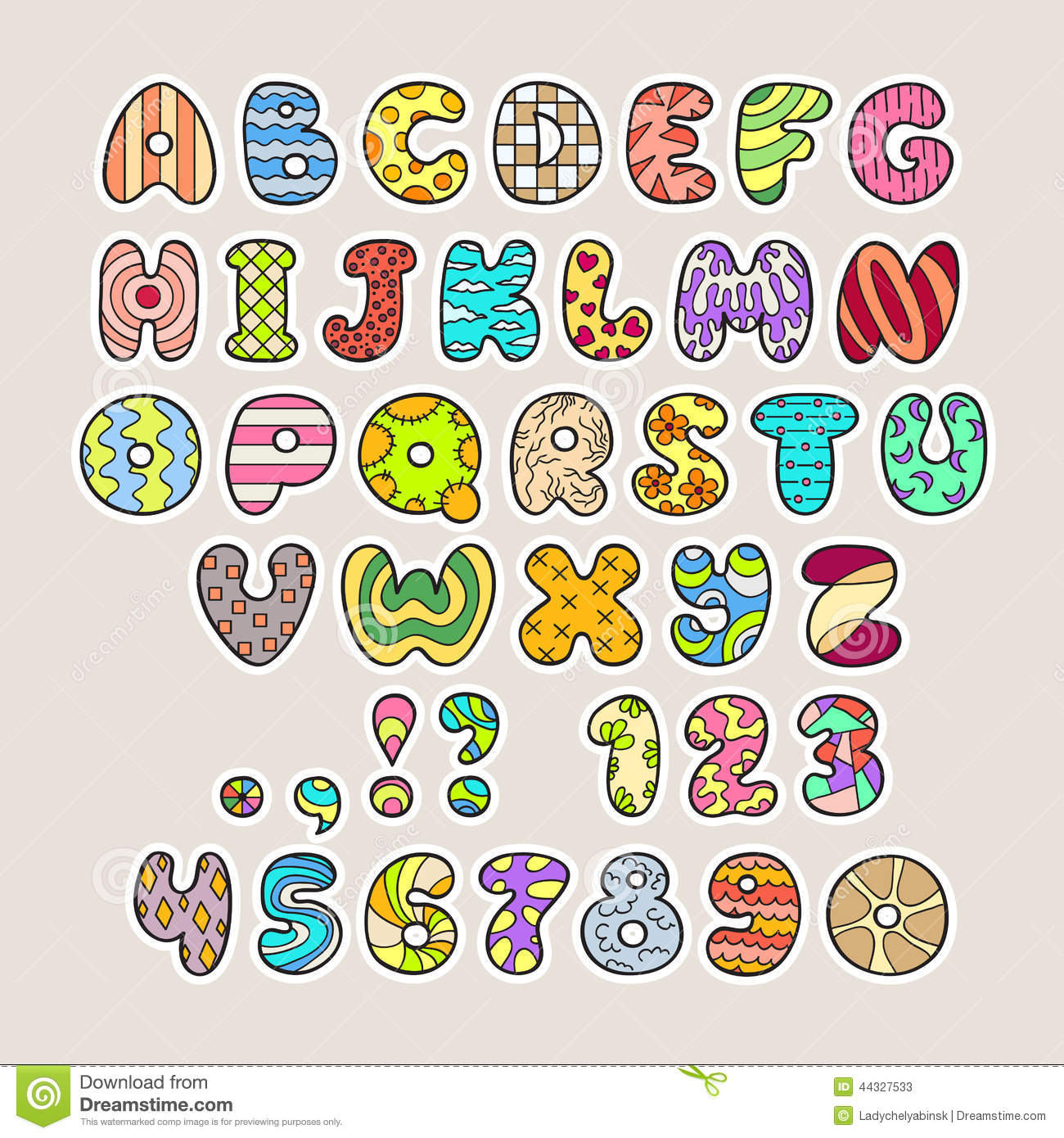 Stylized Colorful Alphabet And Numbers In Vector Stock Vector