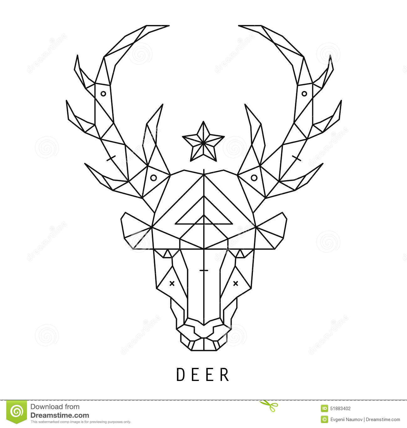 Stylized Deer Head Silhouette With Triangles Stock Vector