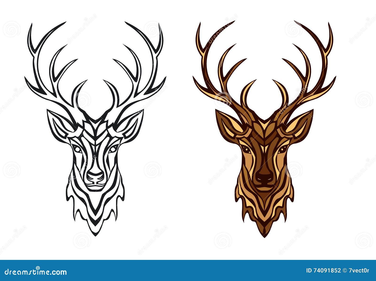 Stylized Deer Head Vector Illustration Stock Vector ...