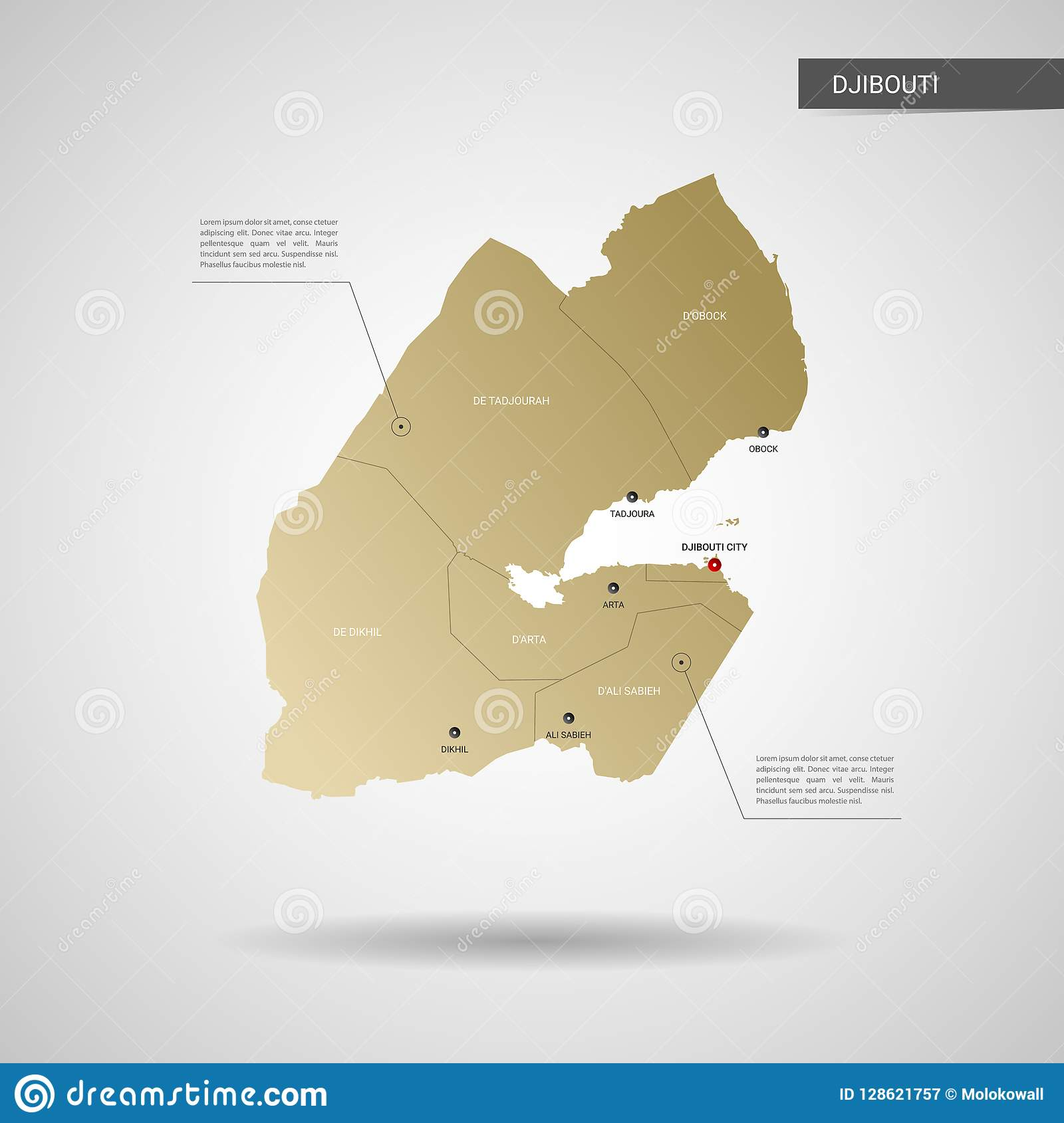 Stylized Djibouti Map Vector Illustration. Stock Vector ... on