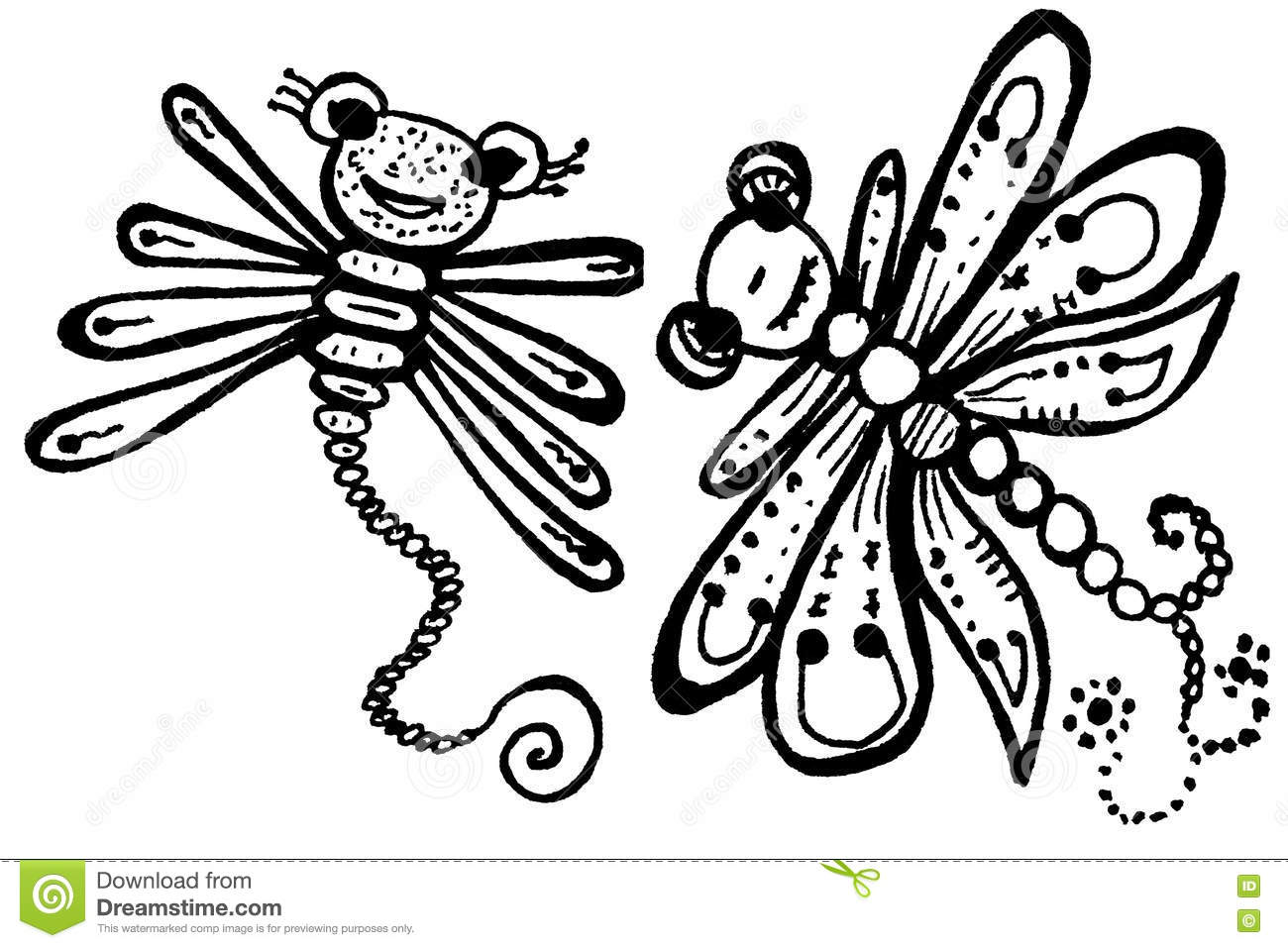 Stylized dragonflies unique drawings and sketches