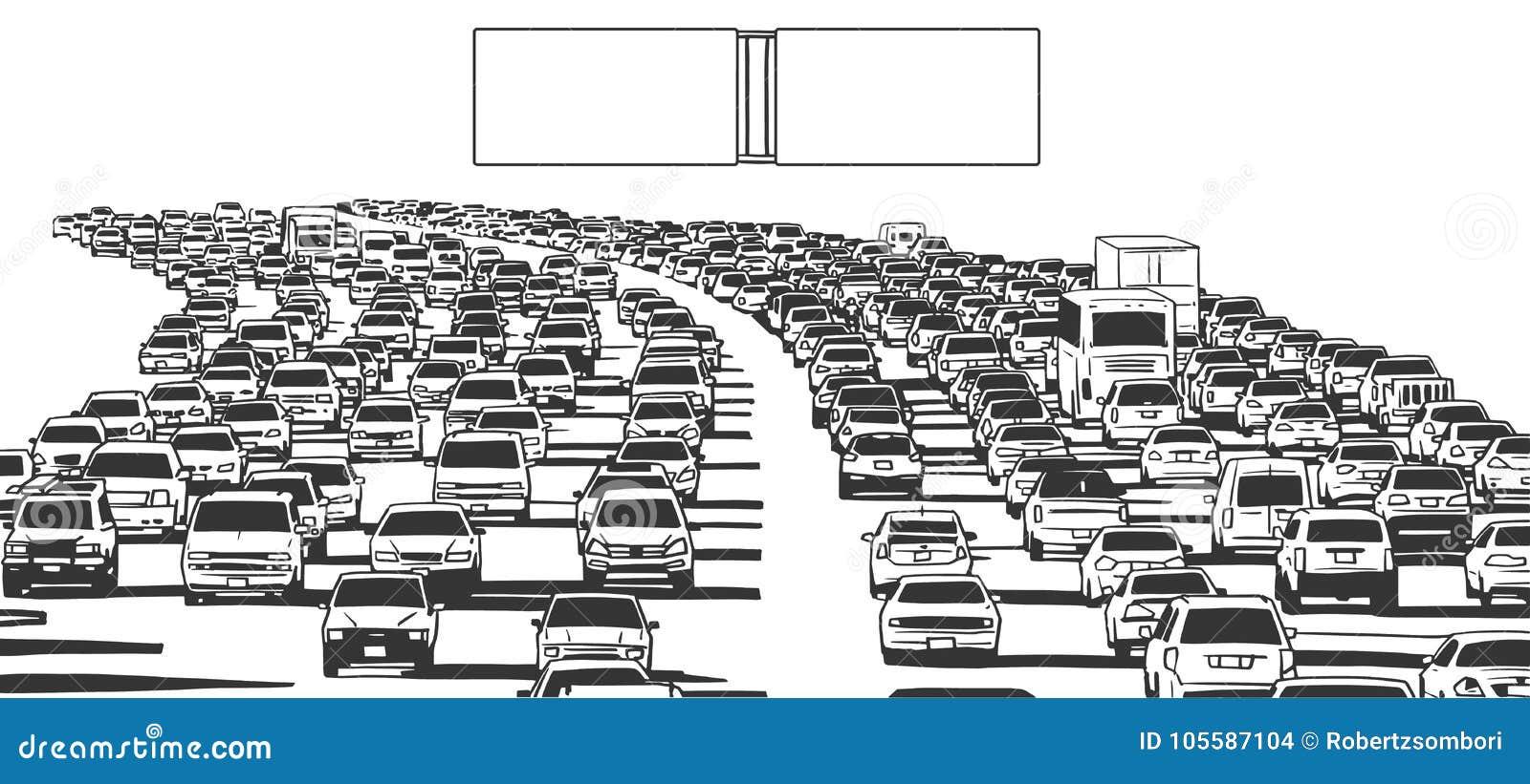 Illustration Of Rush Hour Traffic Jam On Freeway Stock Illustration ...