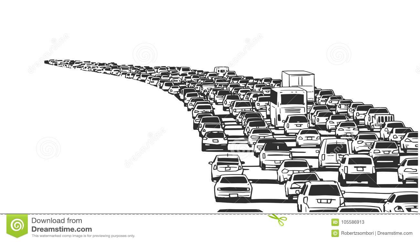 Illustration Of Rush Hour Traffic Jam On Freeway Stock Vector ...