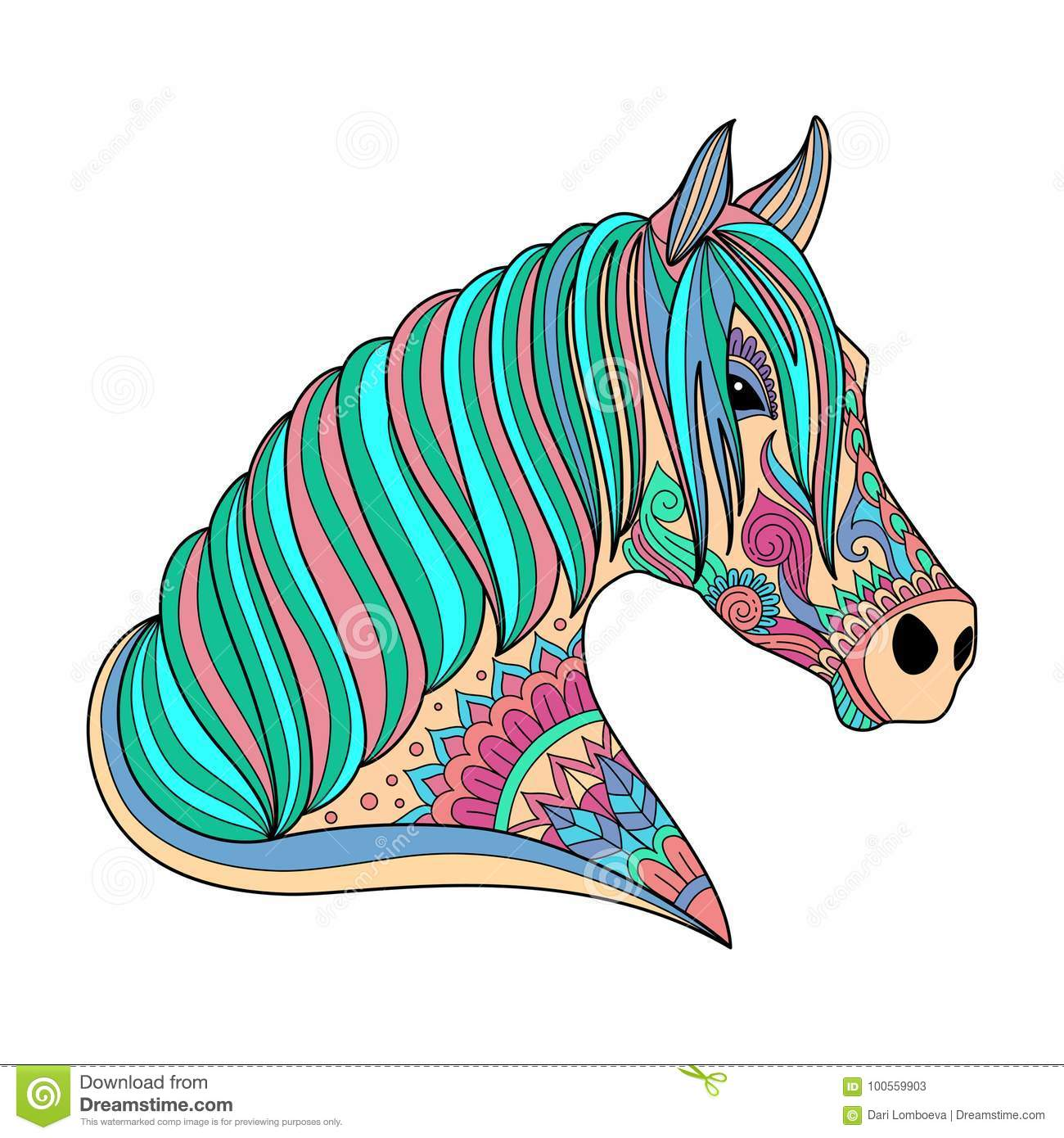 Download Stylized Drawing Horse Zentangle Style For Coloring Book Tattoo Shirt Design Logo