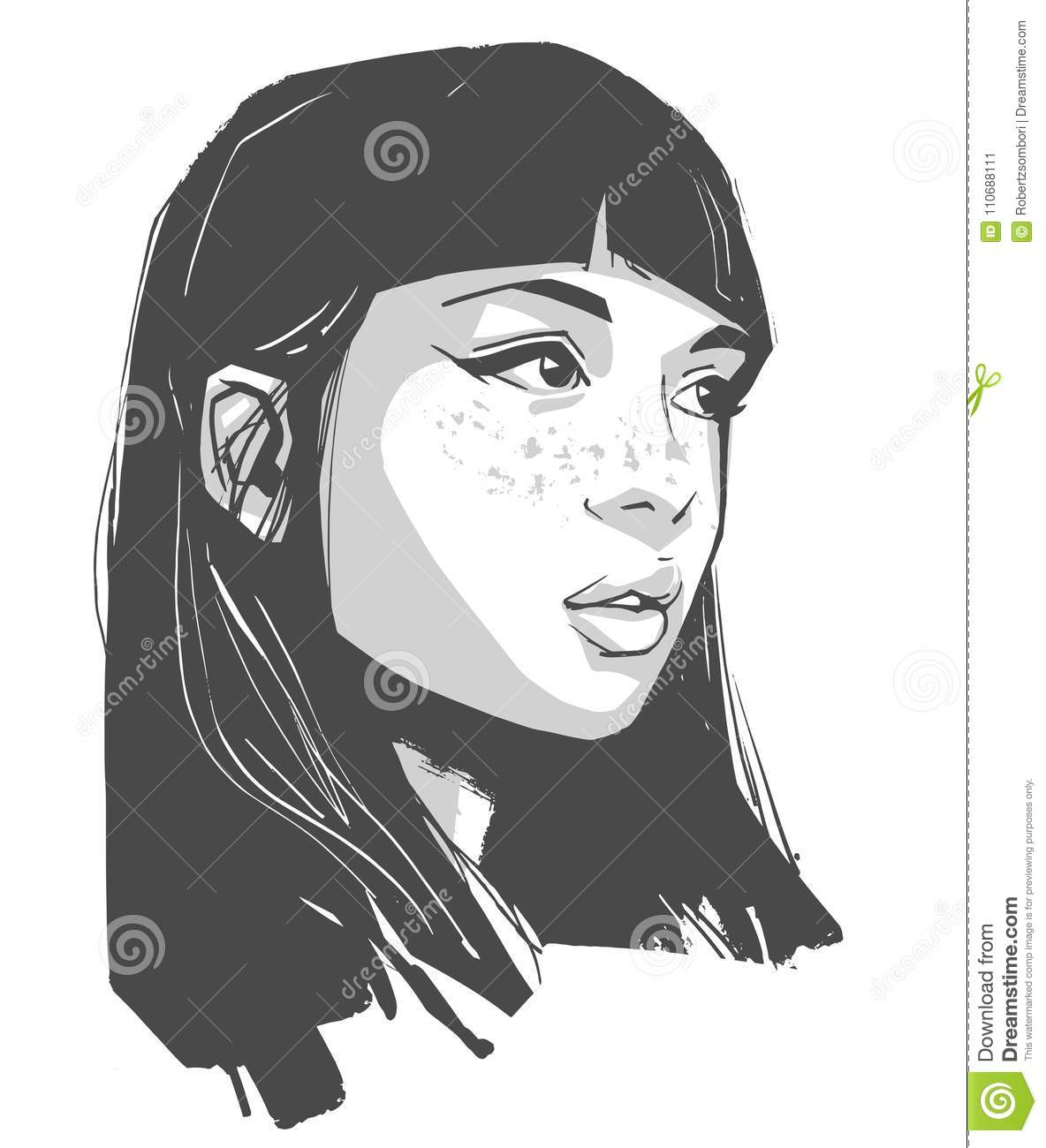 Stylized drawing of pretty girl with make up