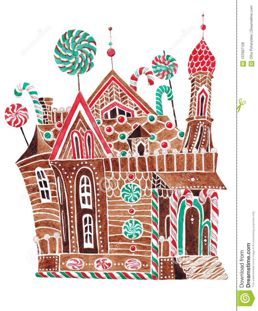 Christmas Gingerbread House Drawing.Stylized Gingerbread House Stock Illustration Illustration