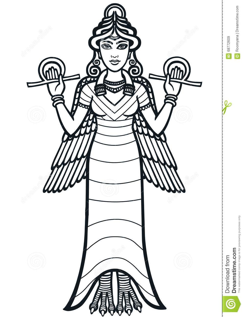 Vector illustration: The stylized goddess Ishtar. Full growth. The ...