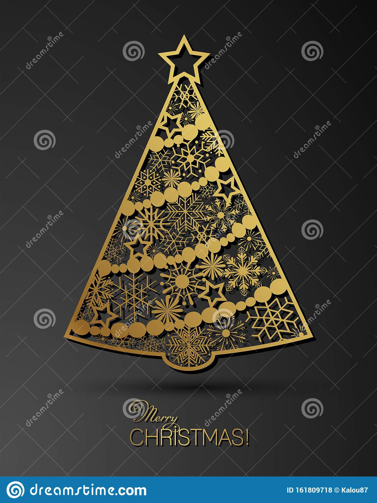 Stylized Golden Christmas Tree Decoration Made From Swirl ...