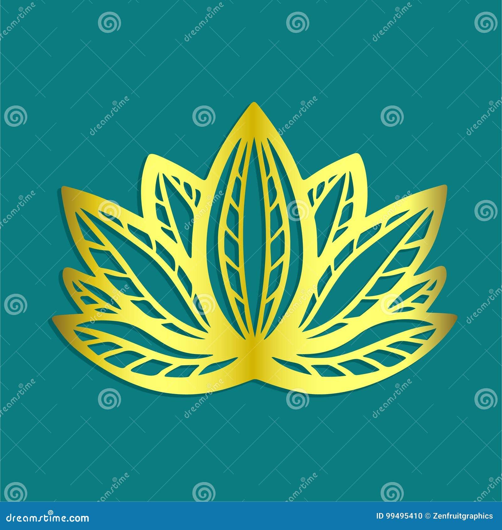 Stylized Golden Lotus Flower Logo On Blue Background Hand Drawn