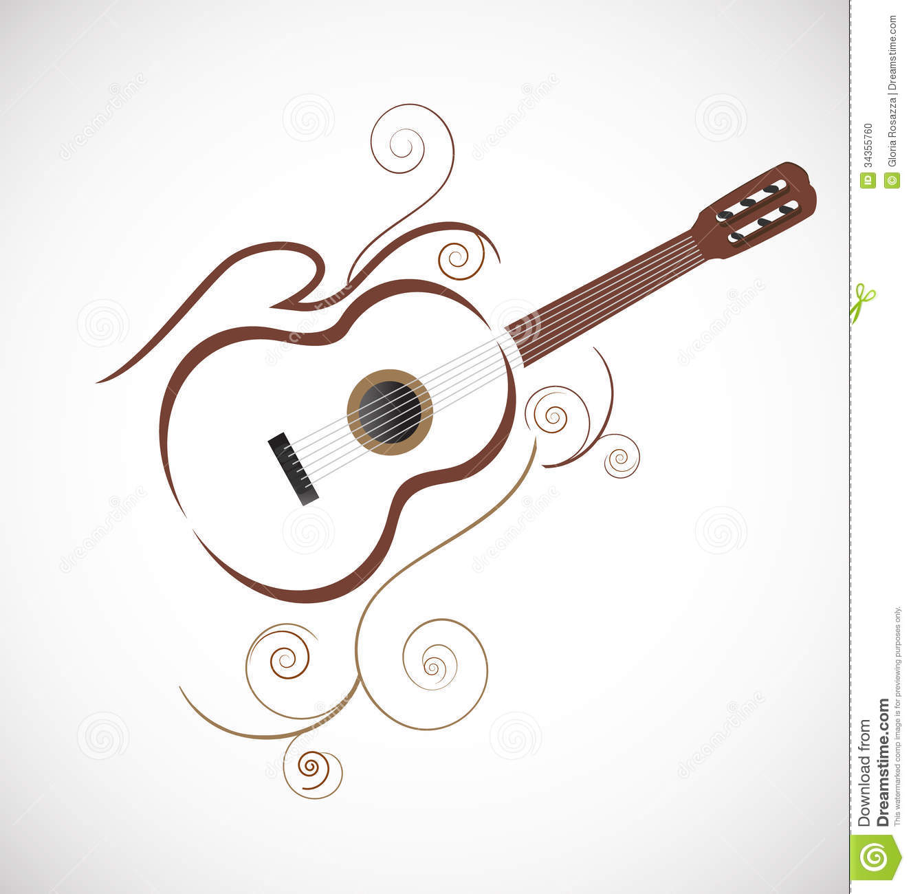 Stylized Guitar Logo Stock Photo - Image: 34355760