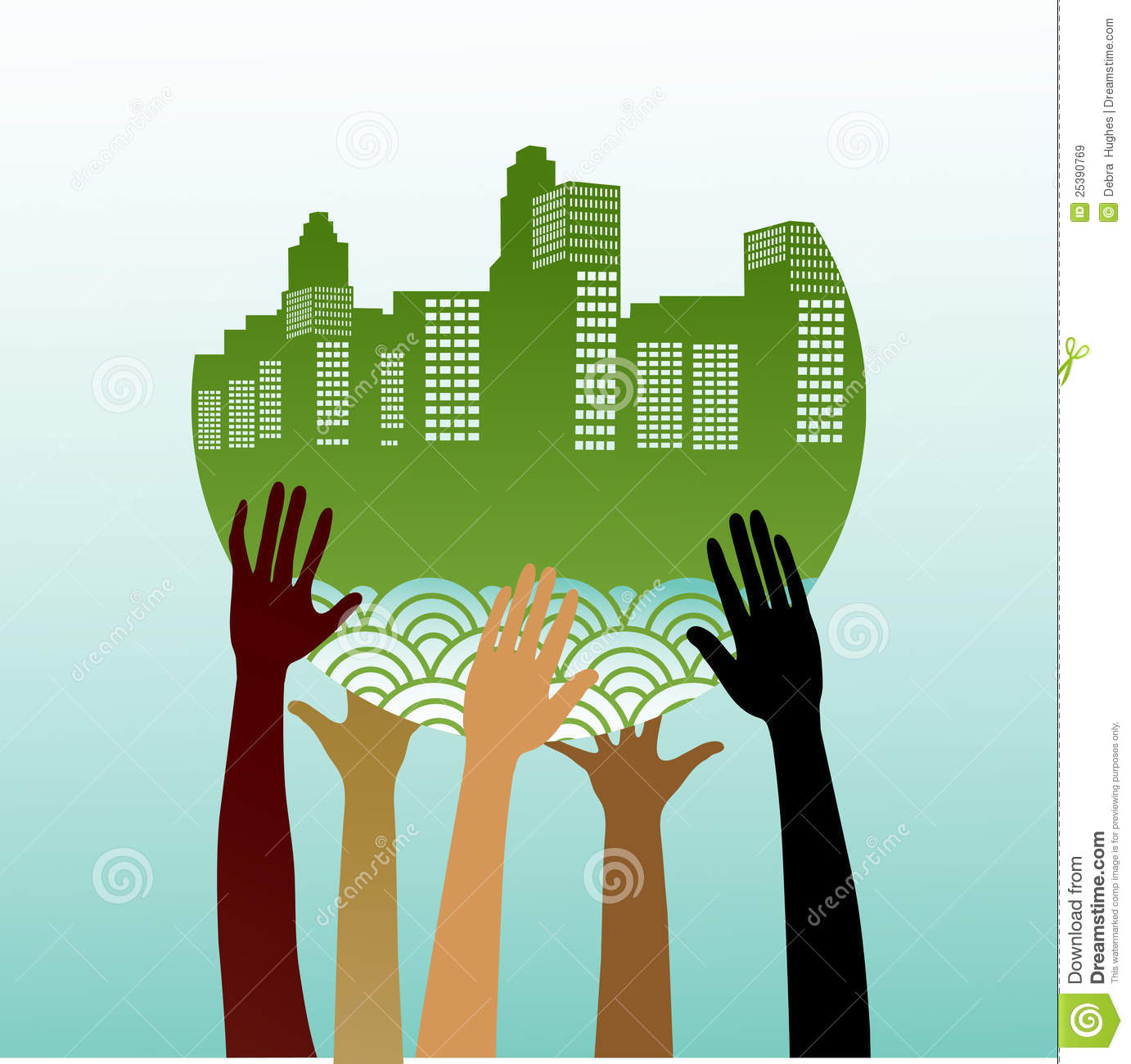 Stylized hands holding green city