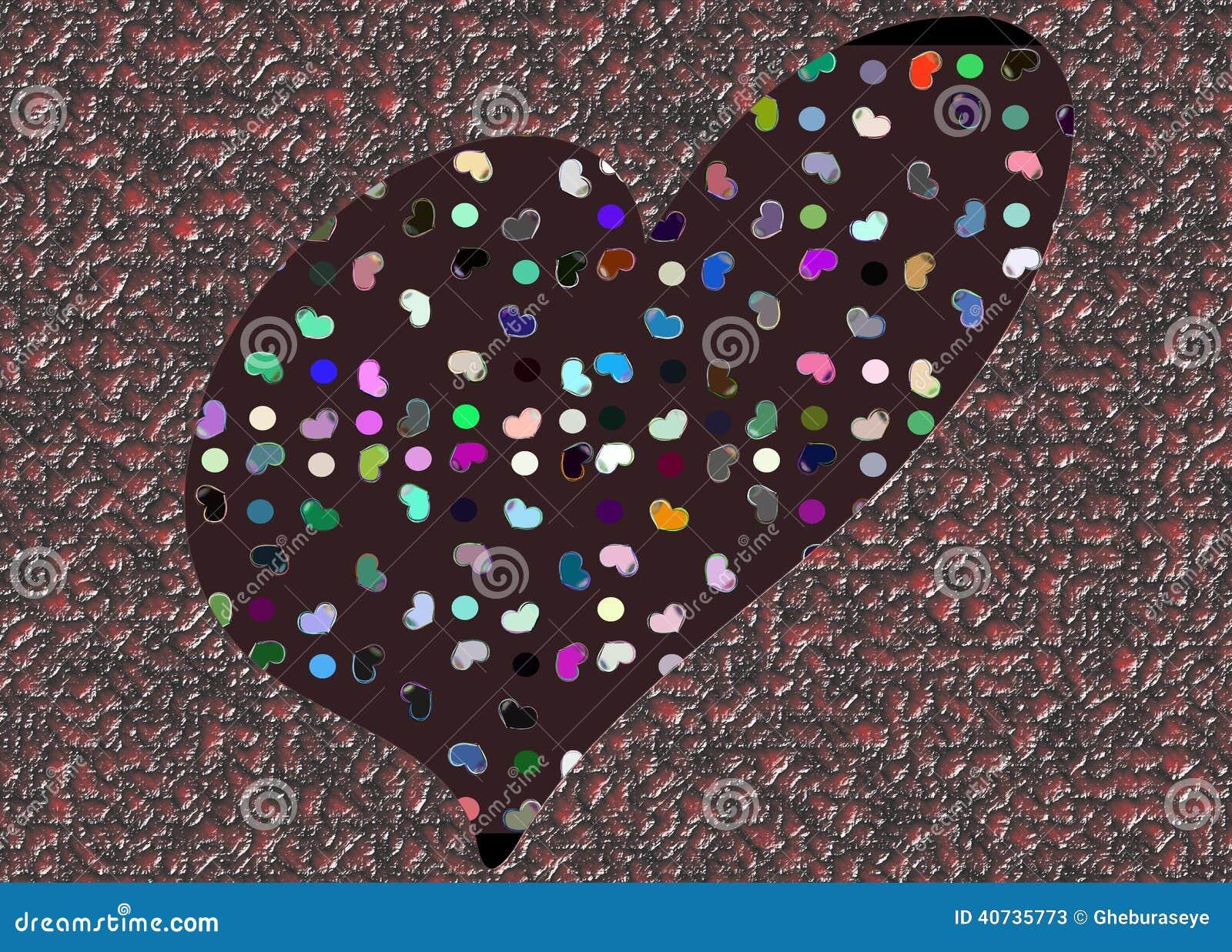Colorful Stylized Heart Background Stock Illustration