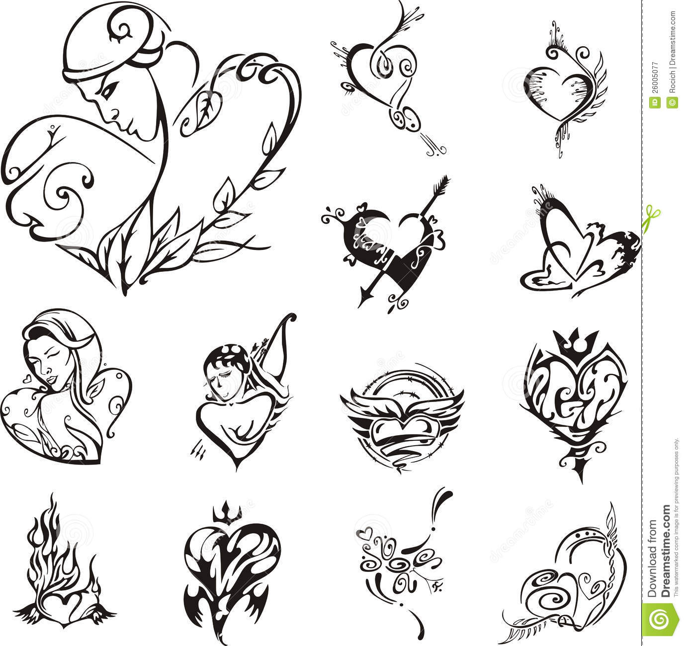 Stylized heart designs set of black and white vector illustrations