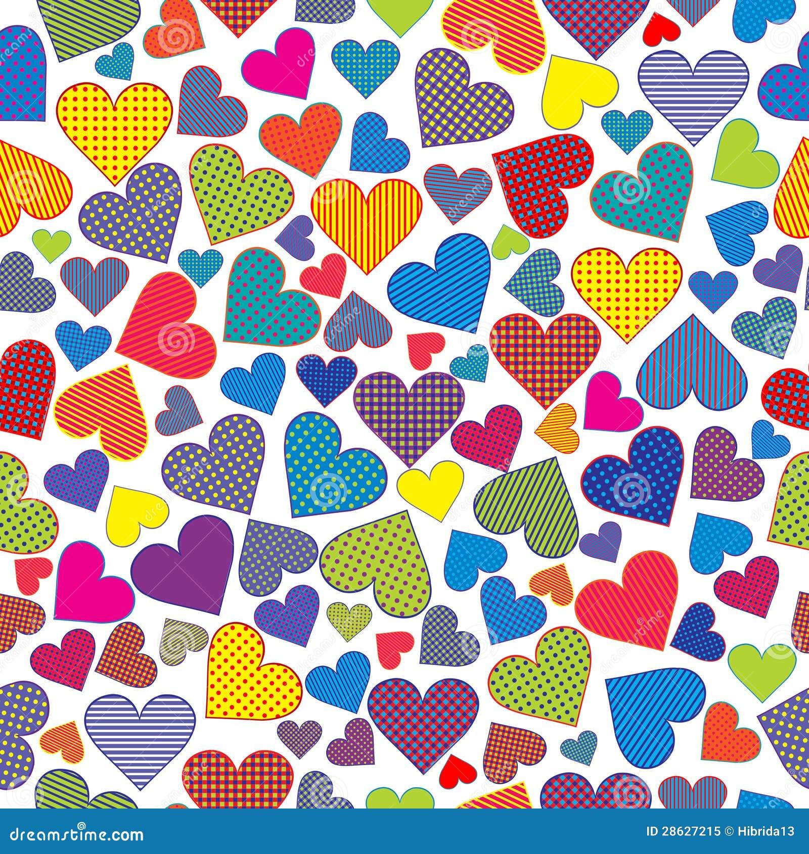 Stylized hearts background seamless pattern