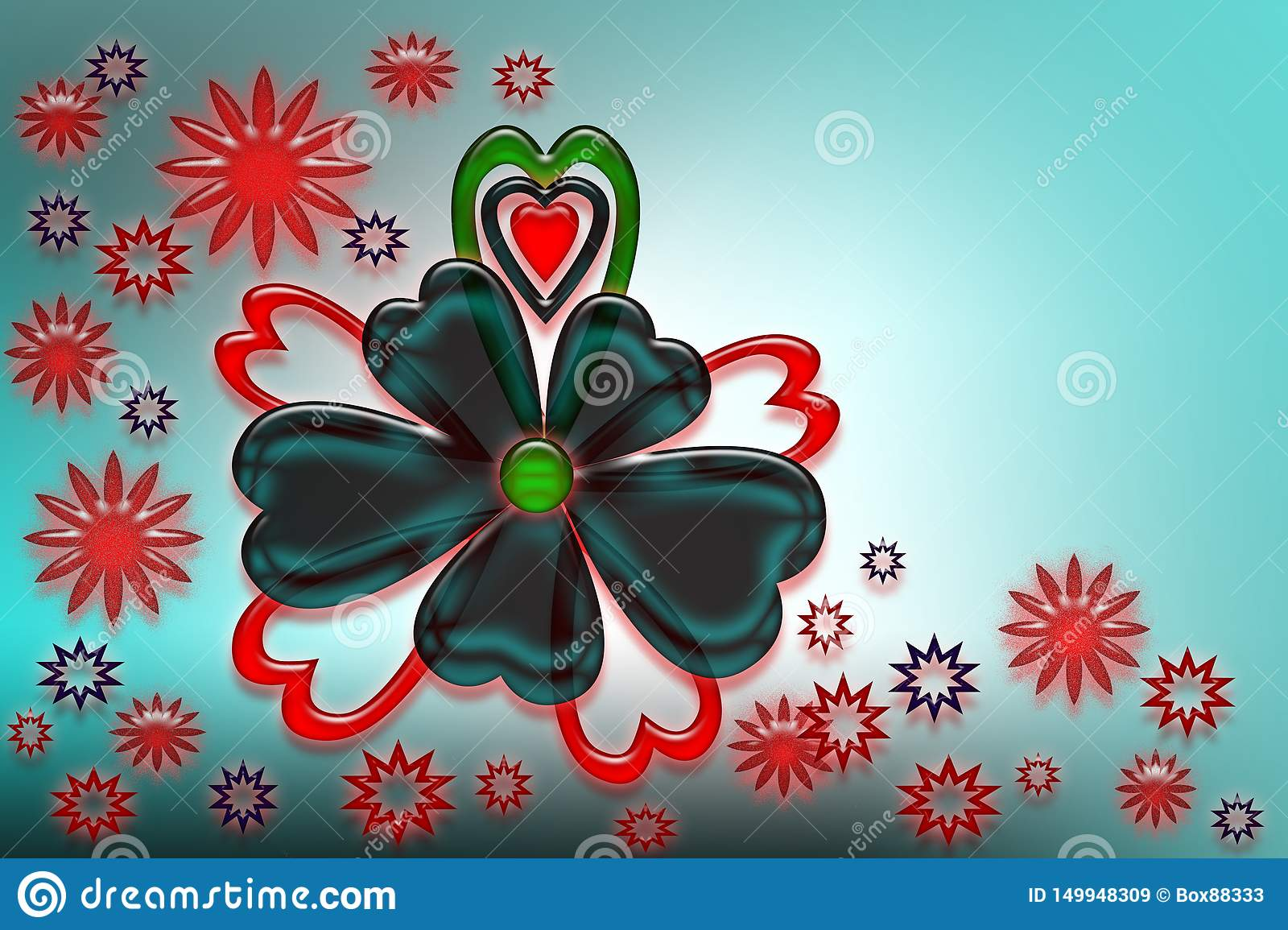 Stylized hearts, flowers and stars.