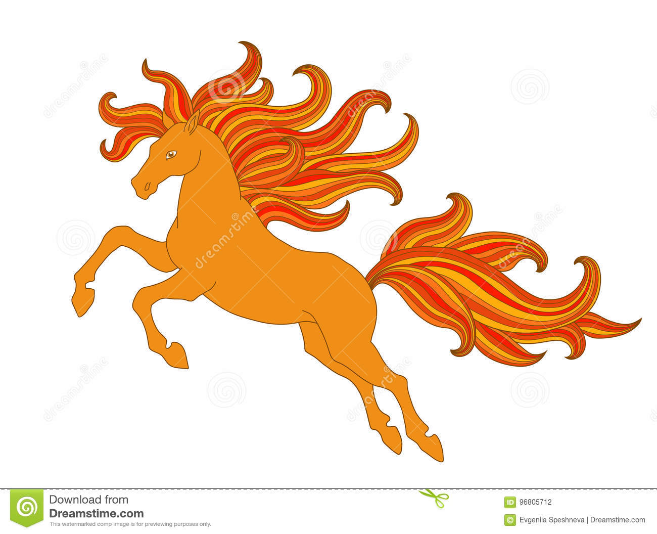 Stylized Horse With Beautiful Wavy Mane And Ponytail Vector Print For Shirts Fabrics Coloring Books Banners Etc Royalty Free
