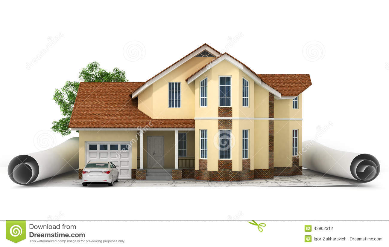A stylized house model with floor plan ruler and pencil for Model house design with floor plan