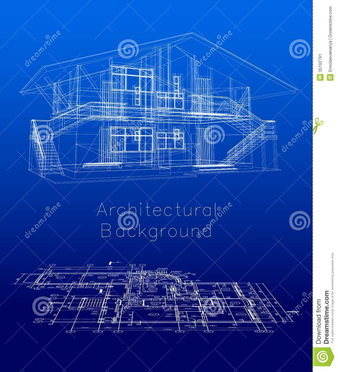 Stylized House Model With Floor Plan Vector Stock Vector