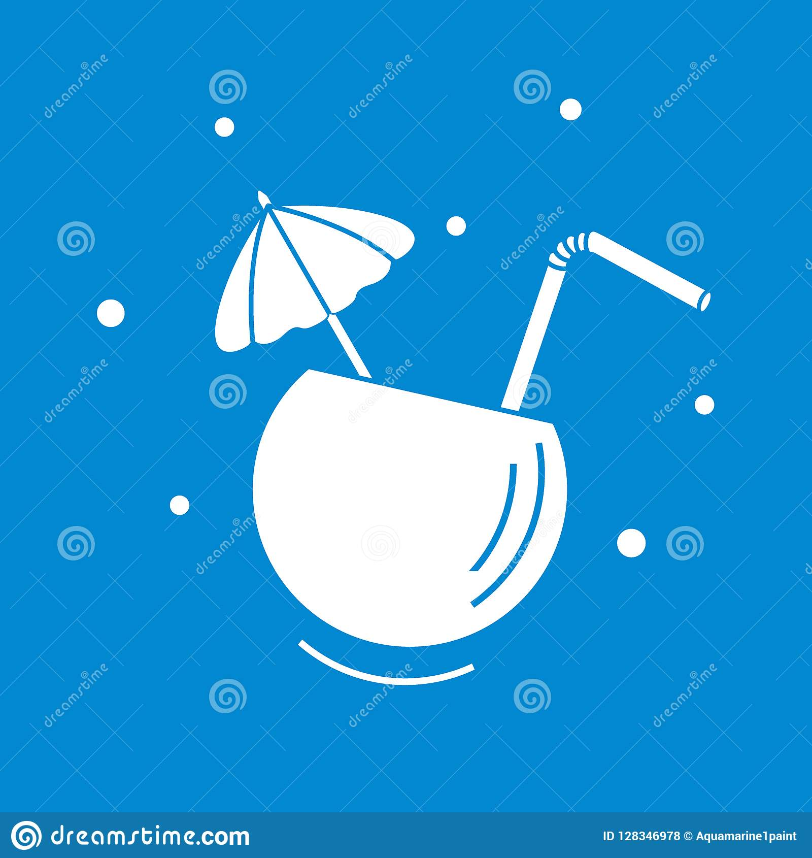 5449a4312408 Stylized Icon Of The Cocktail In Half Coconut, Tube And Umbrella ...