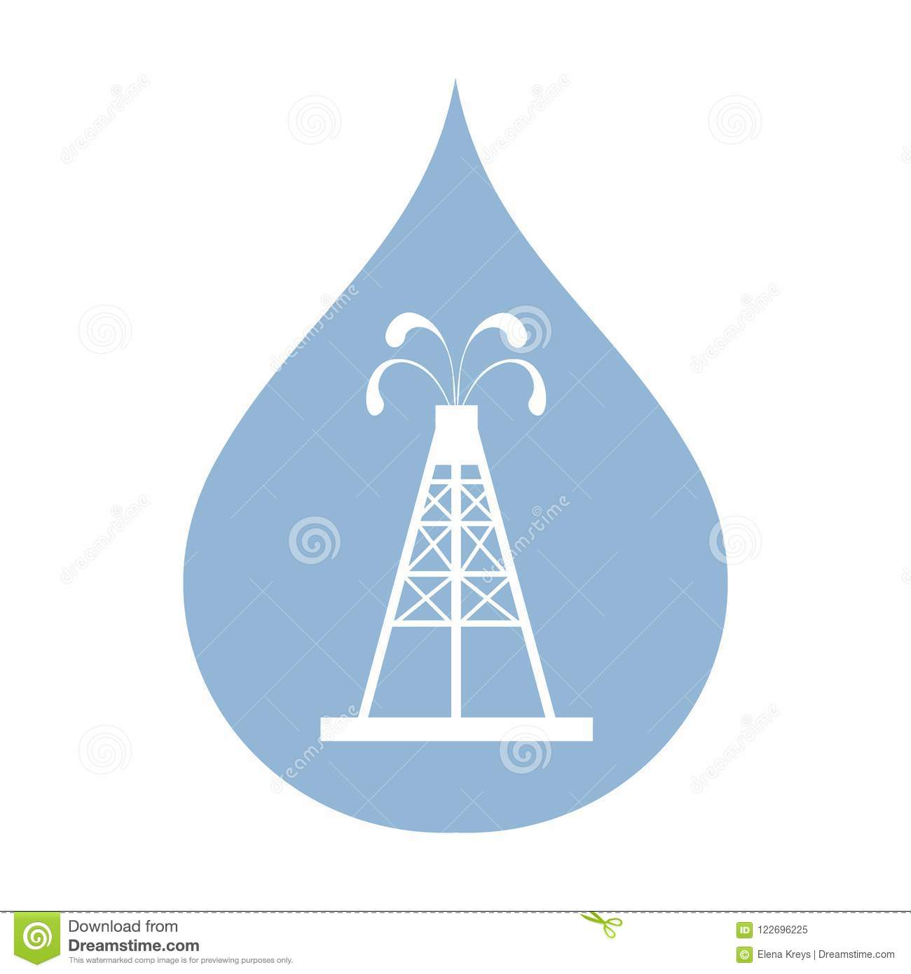 Stylized Icon Of The Oil Rig With Fountains Spurting Up Oil With ...