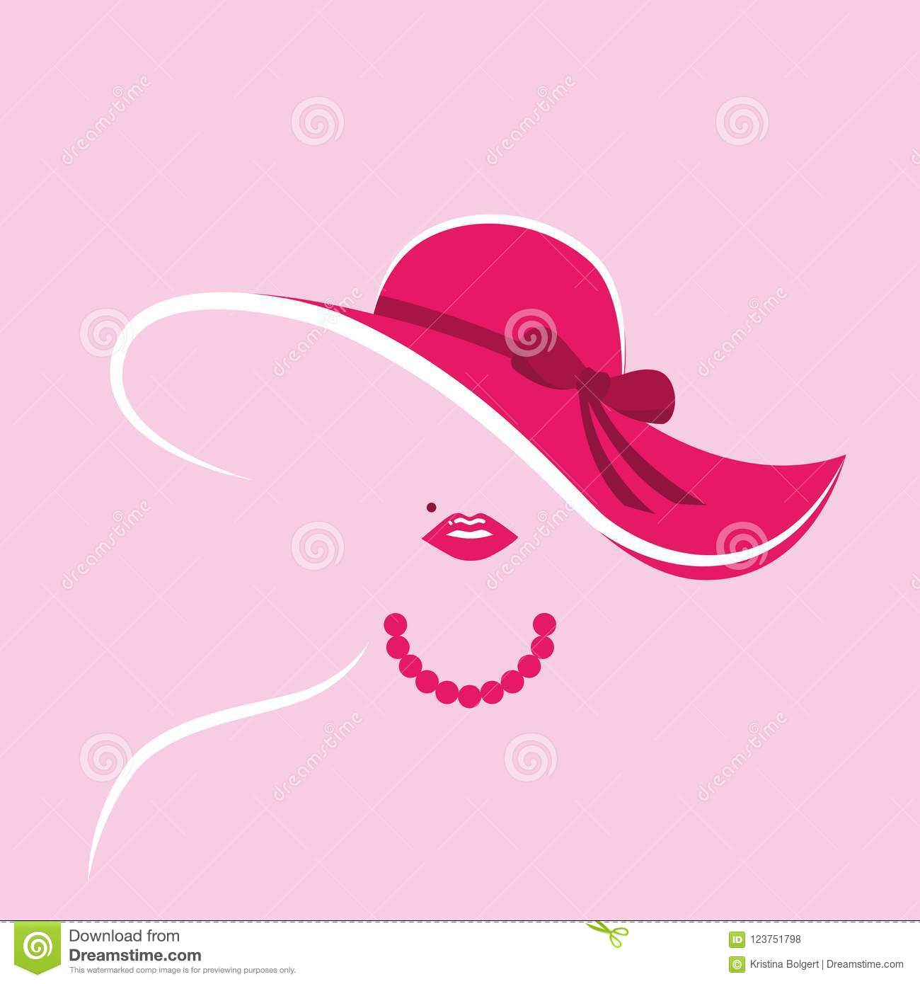 Stylized Lady With Pink Hut And Pearl Necklace Stock Vector