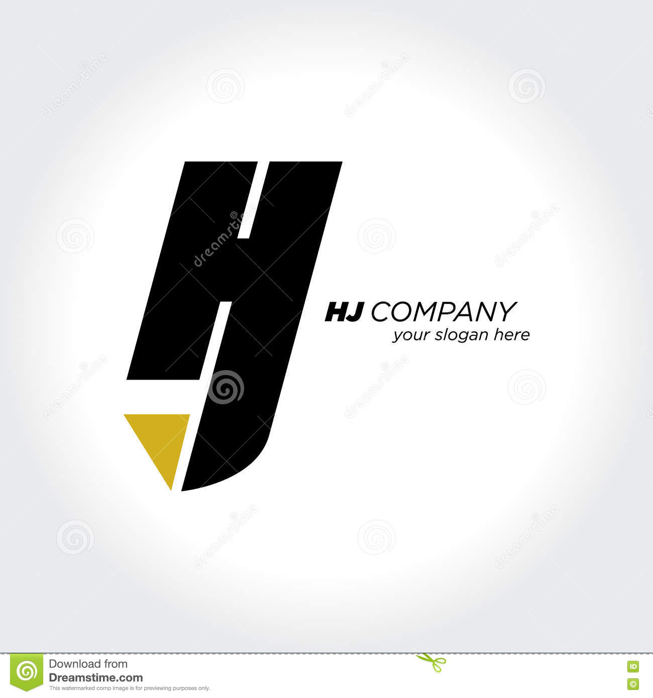 Stylized Letter H And J Symbol Creative Design Vector Stock Vector
