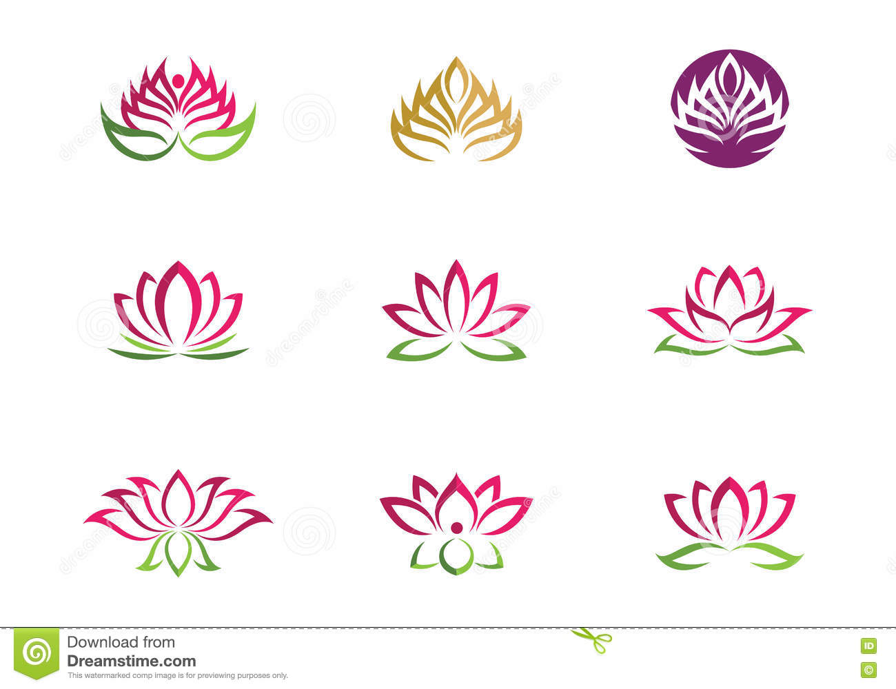 Stylized Lotus Flower Icon Vector Background Stock Vector