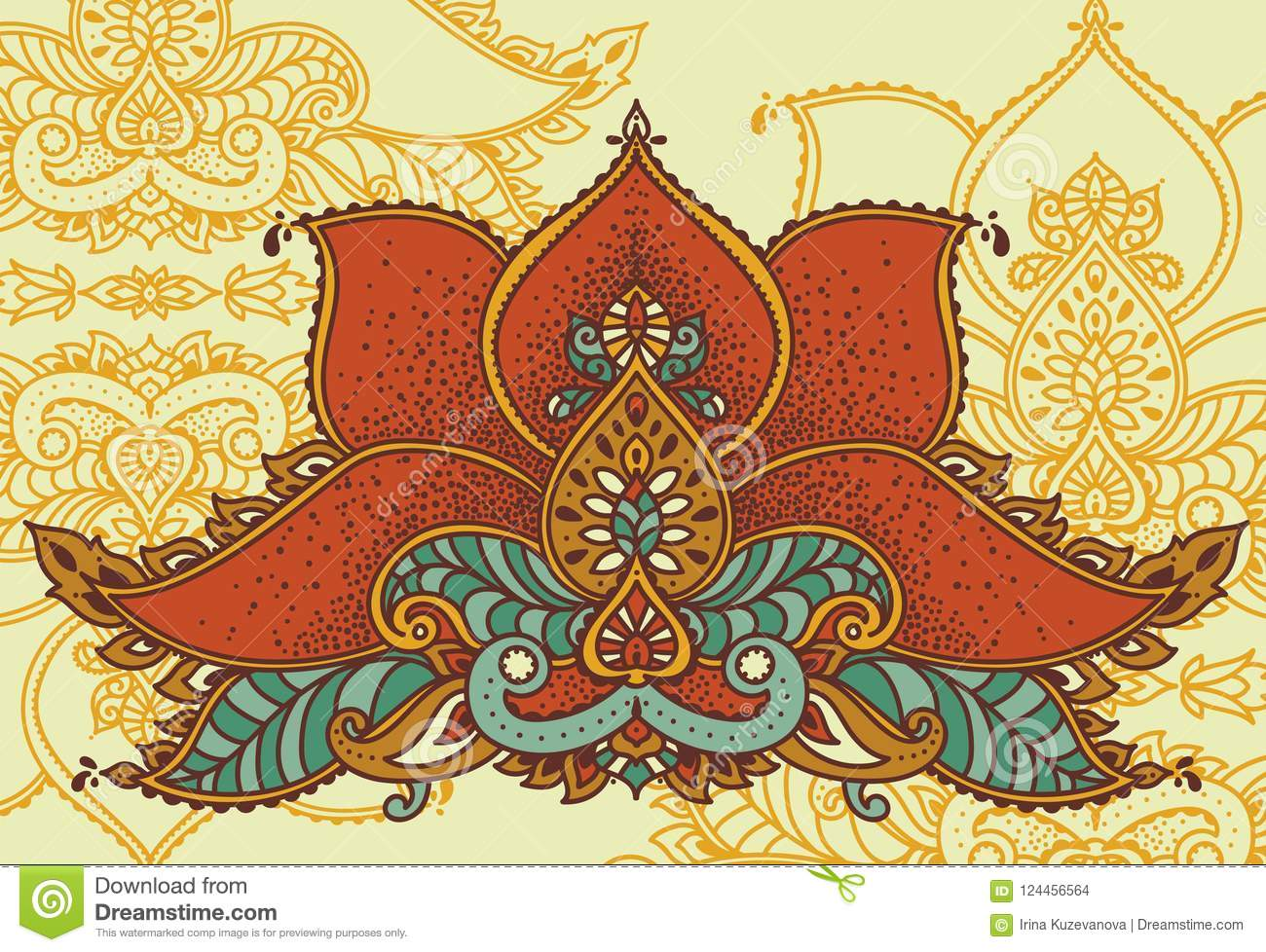 Stylized Lotus Flower In Indian Royal Style Stock Vector
