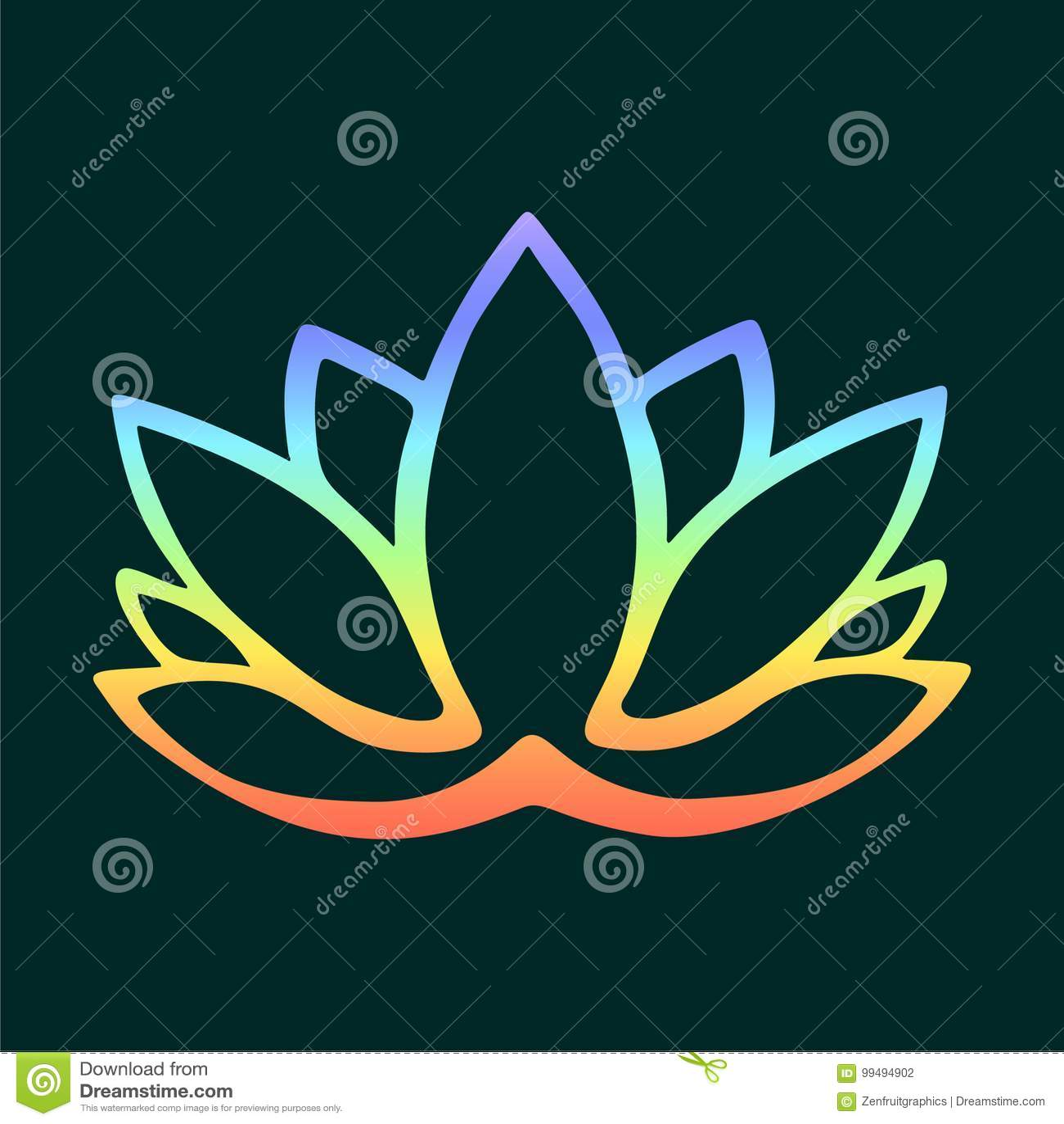 Stylized Lotus Flower Logo On Dark Background Hand Drawn Fantasy