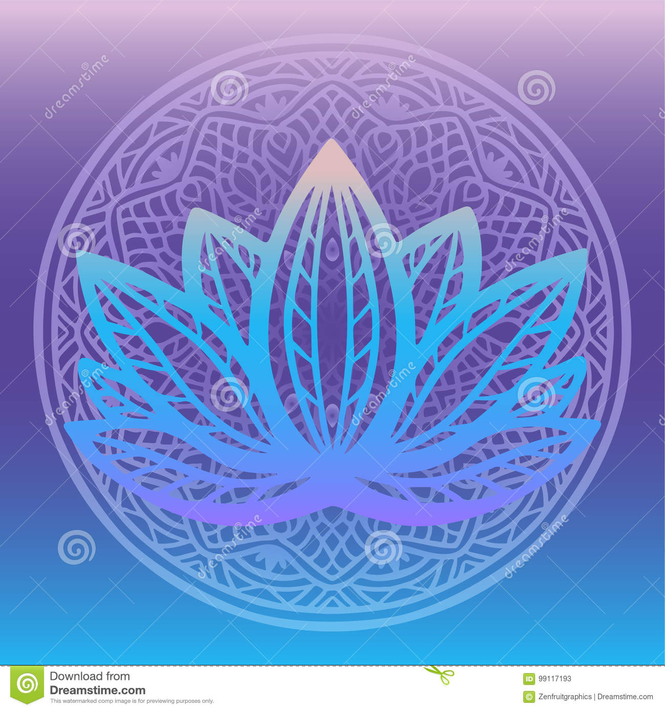 Stylized Lotus Flower Logo In Shades Of Blue And Purple Framed With