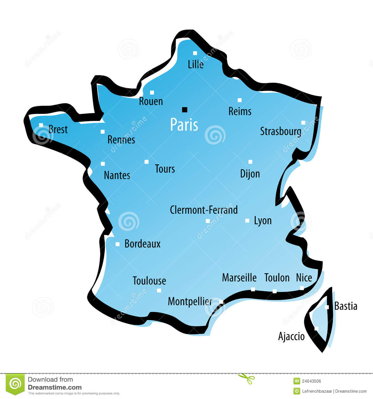 Map Of Major Cities In France.Stylized Map Of France Stock Vector Illustration Of Area 24643506