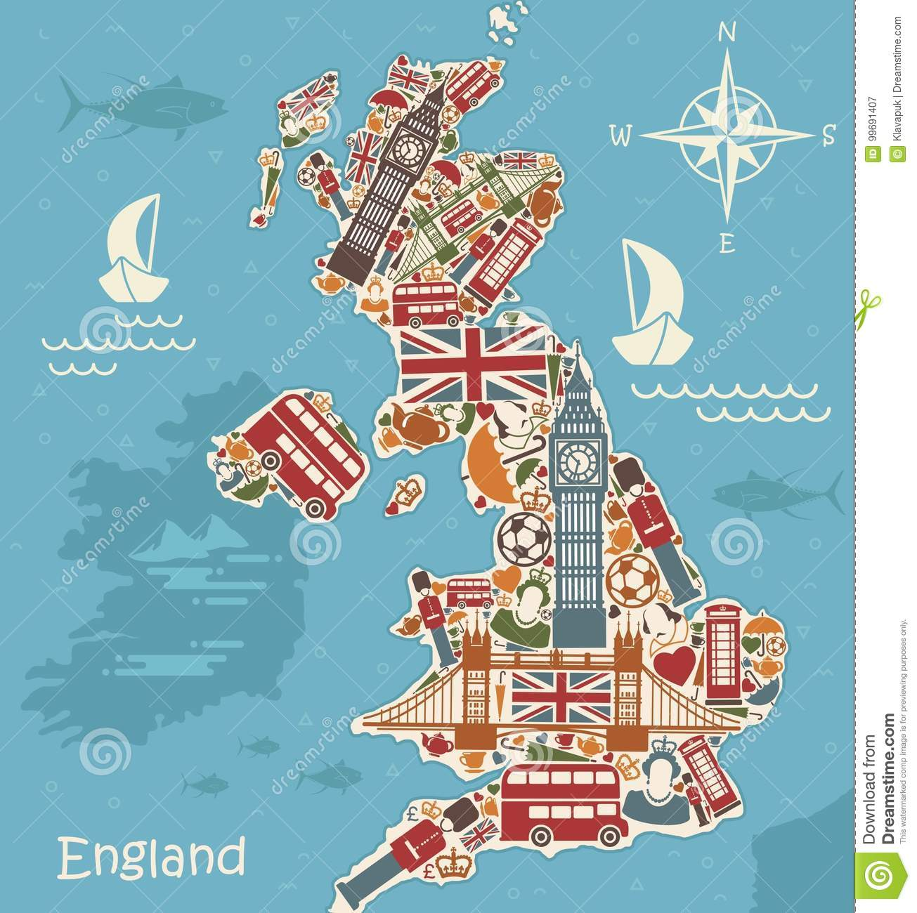Stylized Map Of Great Britain Stock Vector - Illustration of ...