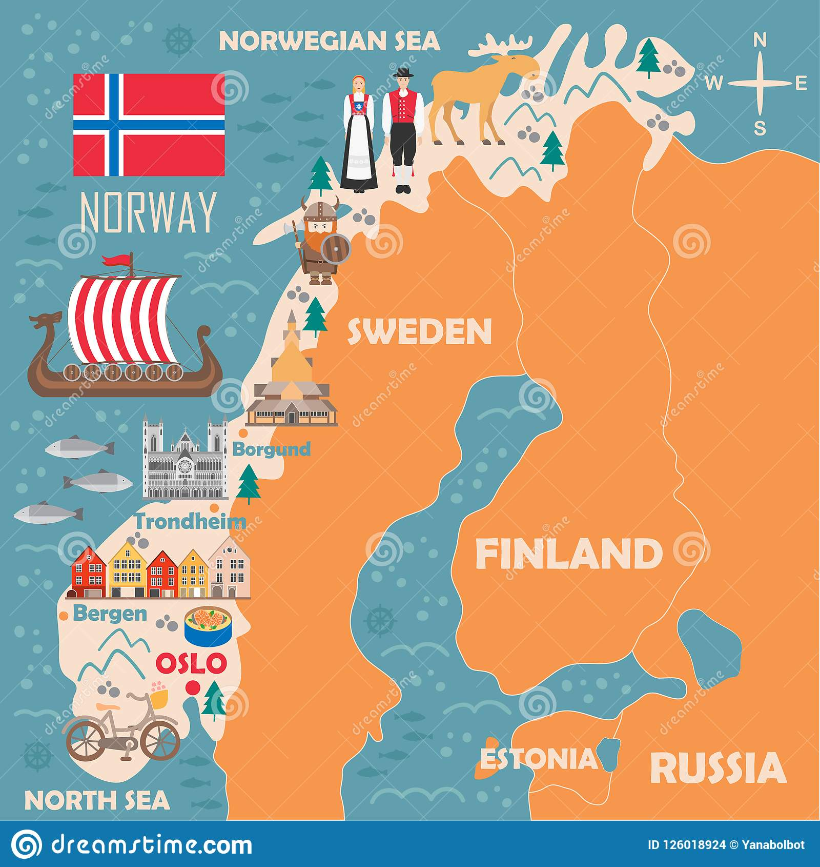 Stylized Map Of Norway Stock Vector Illustration Of Fjord