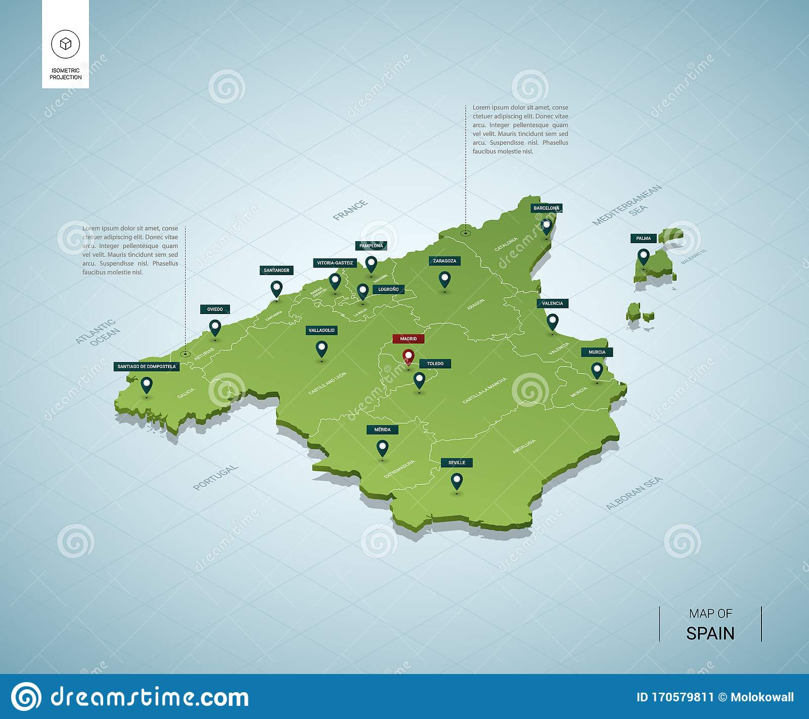 Image of: Stylized Map Of Spain Isometric 3d Stock Vector Illustration Of Language Labeled 170579811