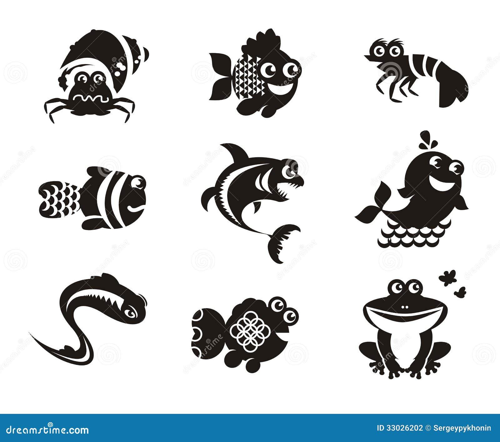 Stylized marine animals on a white background stock - Clip art animali marini ...