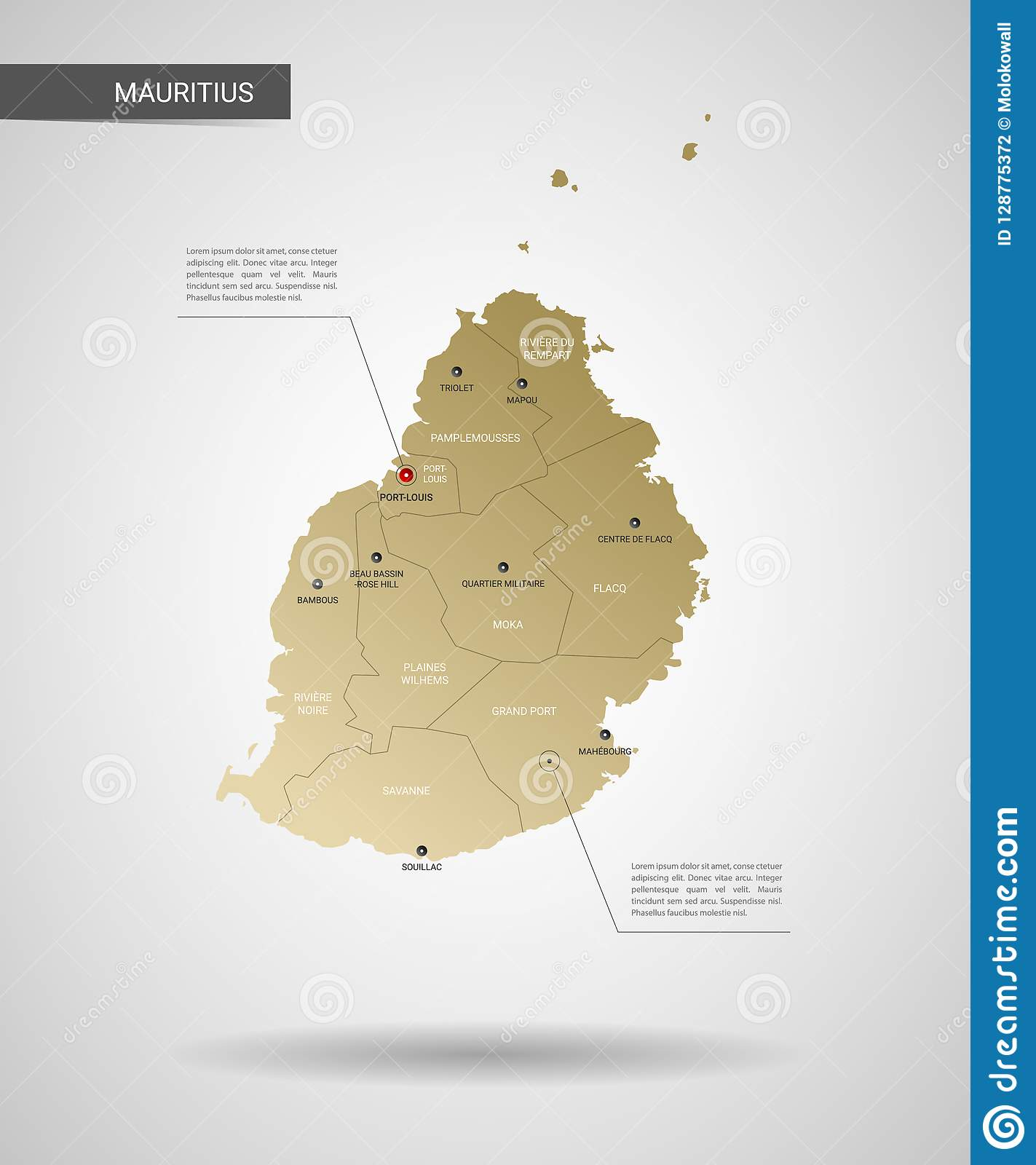 Stylized Mauritius Map Vector Illustration. Stock Vector ...