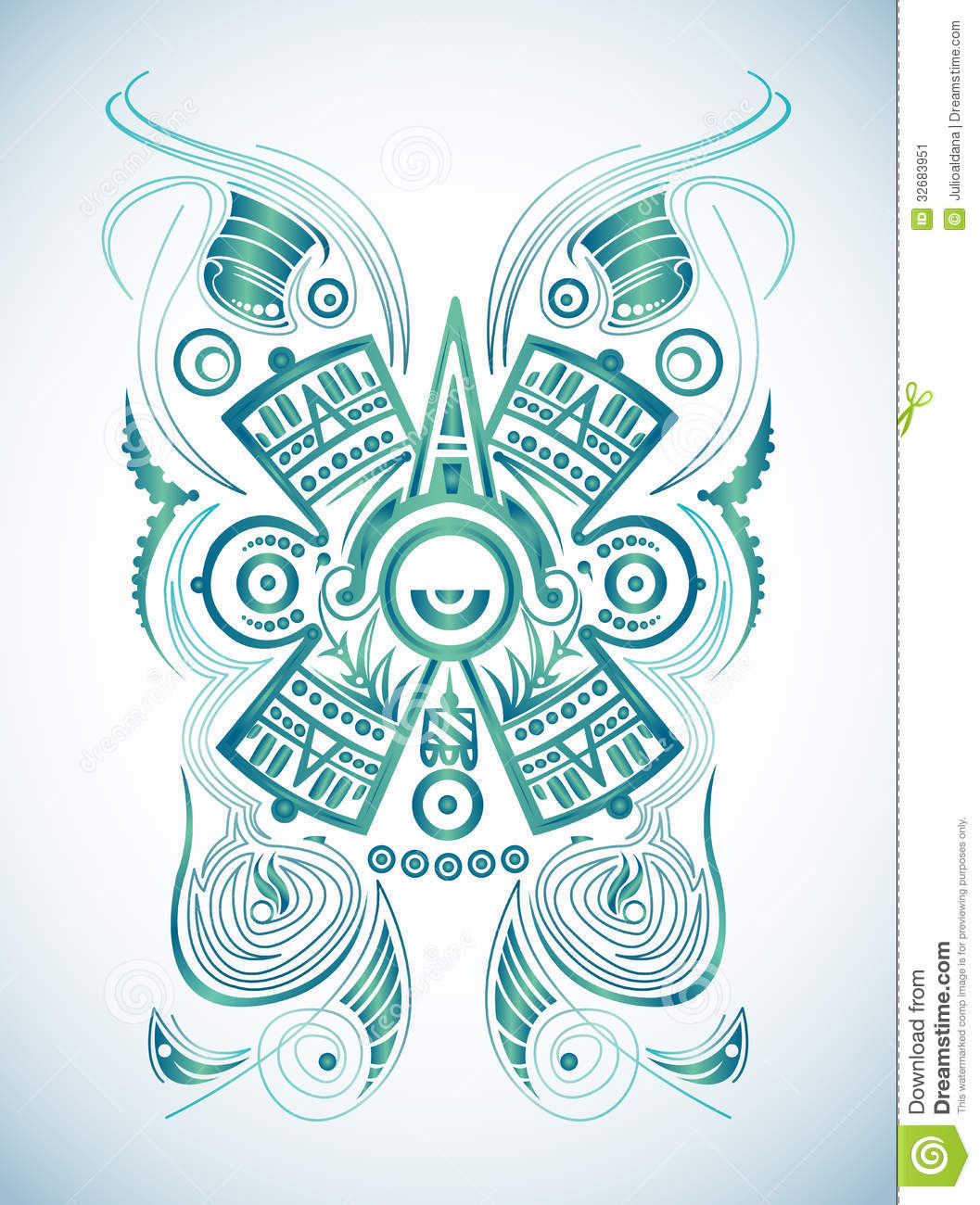 Stylized Mayan symbol - tattoo  vector illustration - surf style    Mayan Symbols Vector