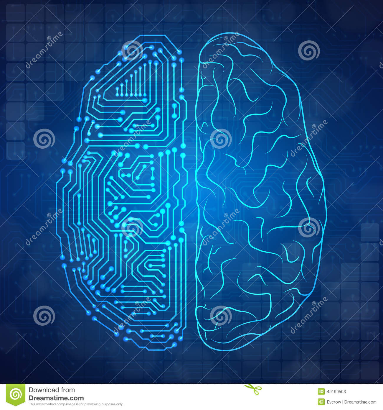 Circuit Brain Reusable : Stylized mind stock vector image