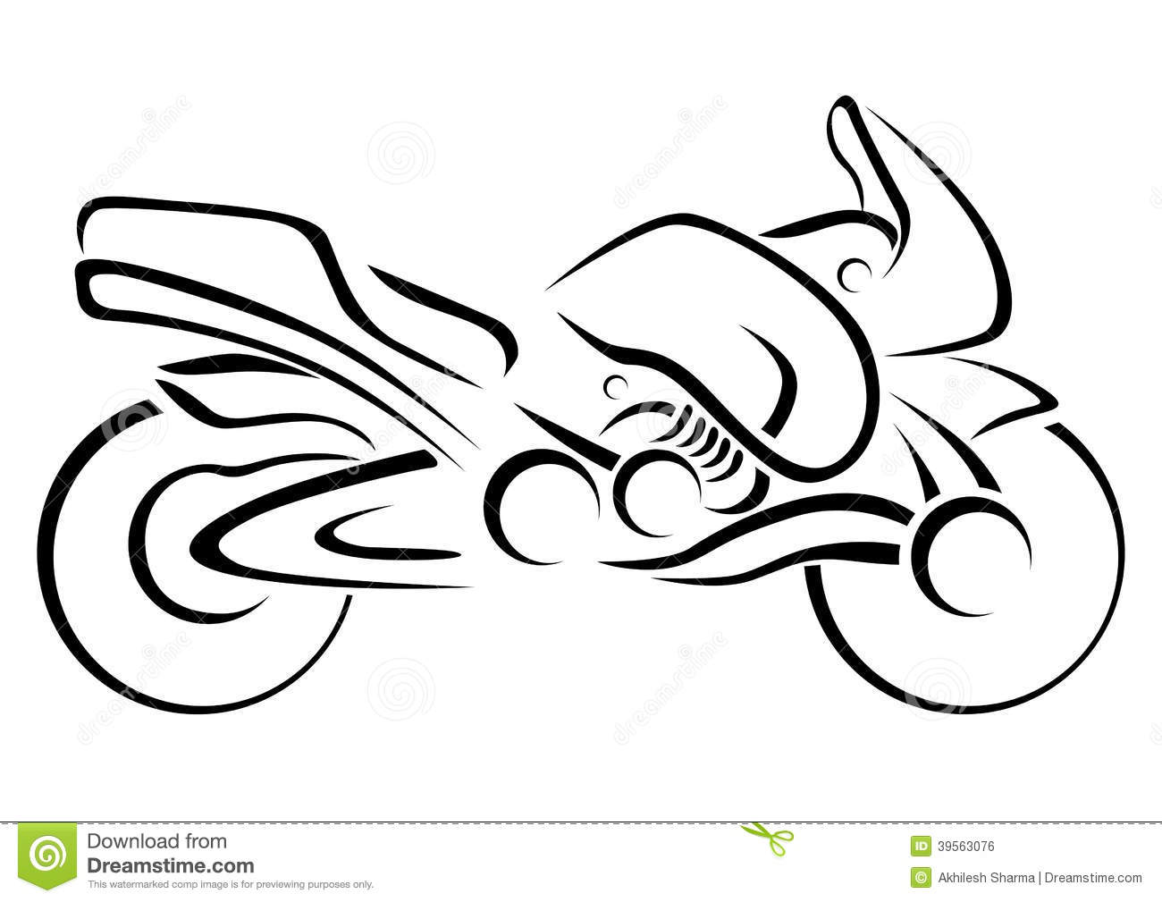Jpg To Line Drawing : Stylized motorcycle vector illustration stock