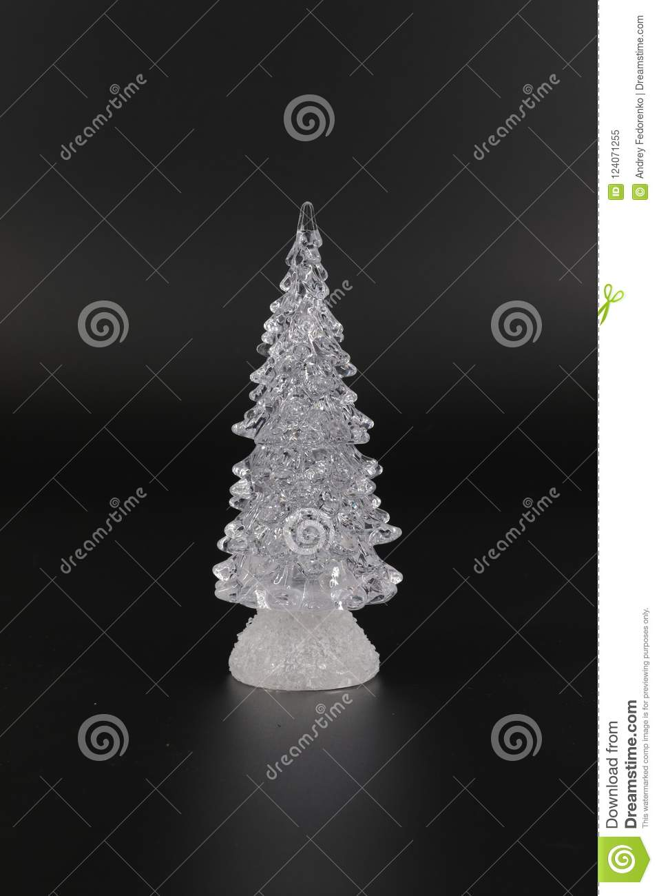 Stylized Christmas Tree Made Of Transparent Material On A Dark And