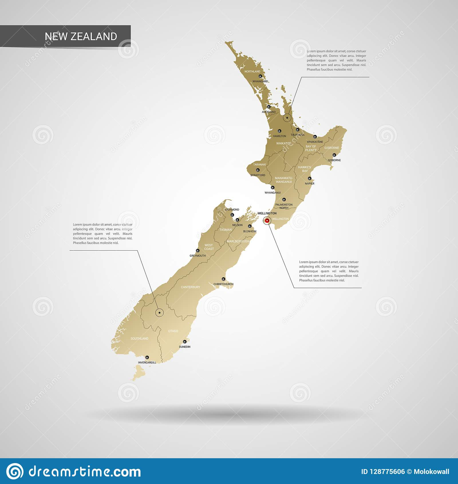 City Map Of New Zealand.Stylized New Zealand Map Vector Illustration Stock Vector