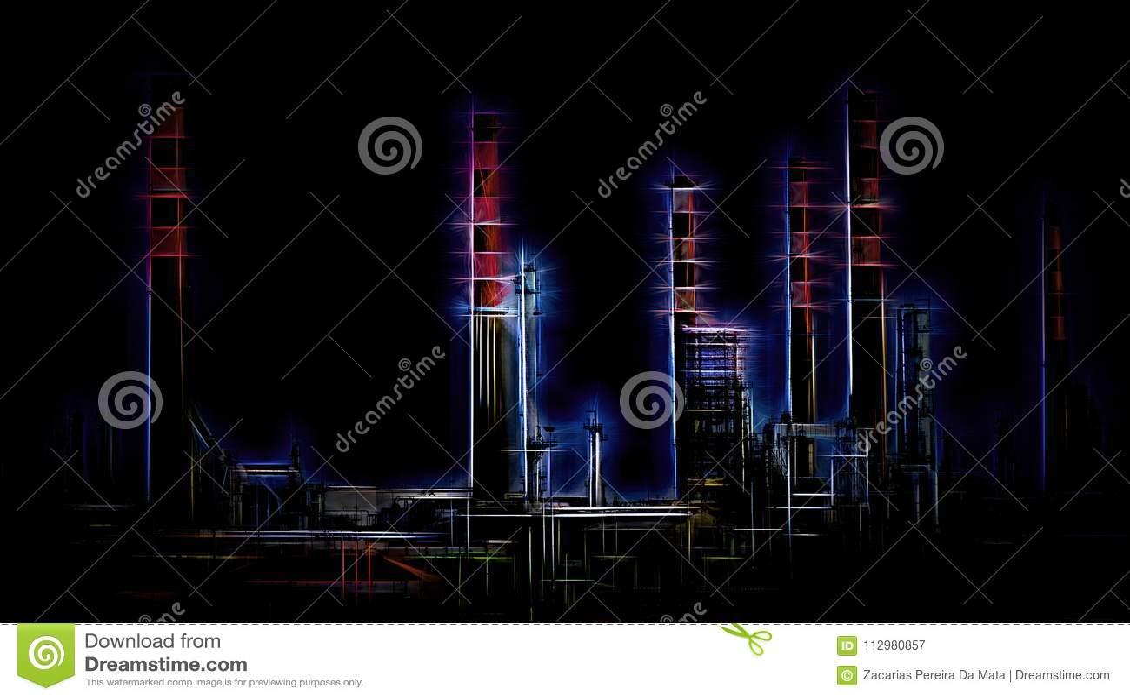 Stylized oil refinery