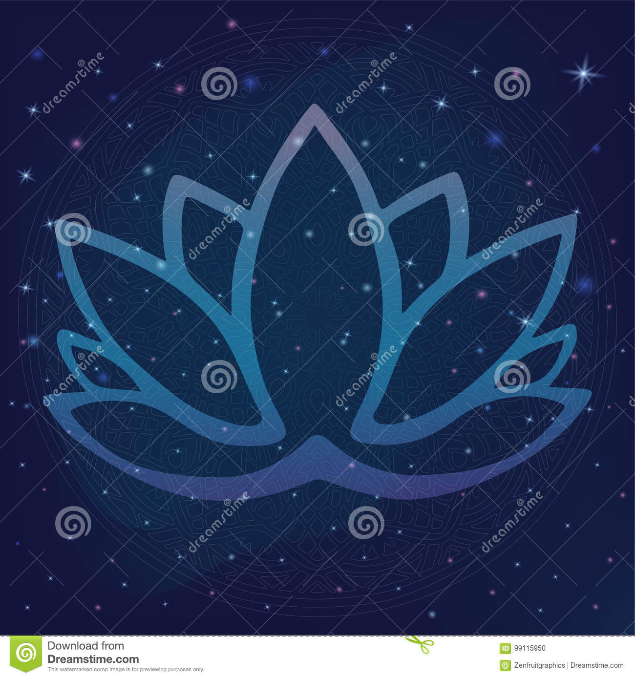 Stylized Outline Lotus Flower Logo In Shades Of Blue And Purple